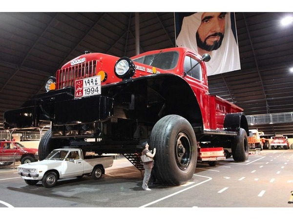 Sheikh Hamad bin Hamdan Al Nahyan (also known as The Rainbow Sheikh) is a member of the Abu Dhabi Ruling Family in the United Arab Emirates (UAE). He constructed the world's largest truck; a replica of a classic Dodge Power Wagon, but eight times the original Power Wagon size This has four bedrooms inside the cabin. The vehicle also moves, and it weighs over 50 tonnes