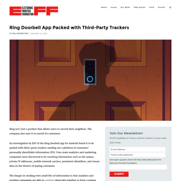 Ring Doorbell App Packed with Third-Party Trackers