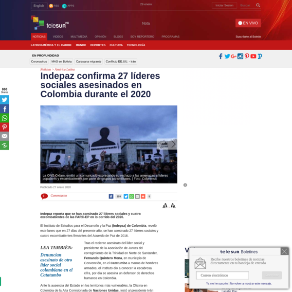 Indepaz confirma 27 líderes sociales asesinados en 2020