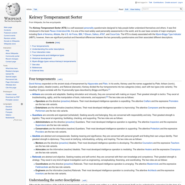 an analysis of the keirsey temperament sorter