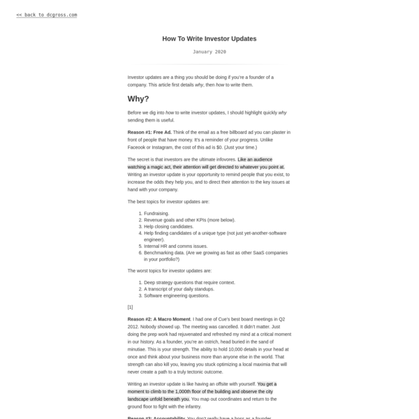 How To Write Investor Updates