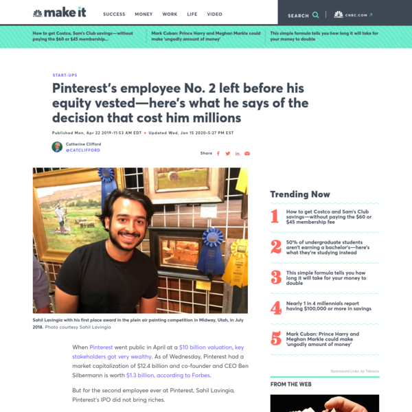 Pinterest's employee No. 2 left before his equity vested-here's what he says of the decision that cost him millions