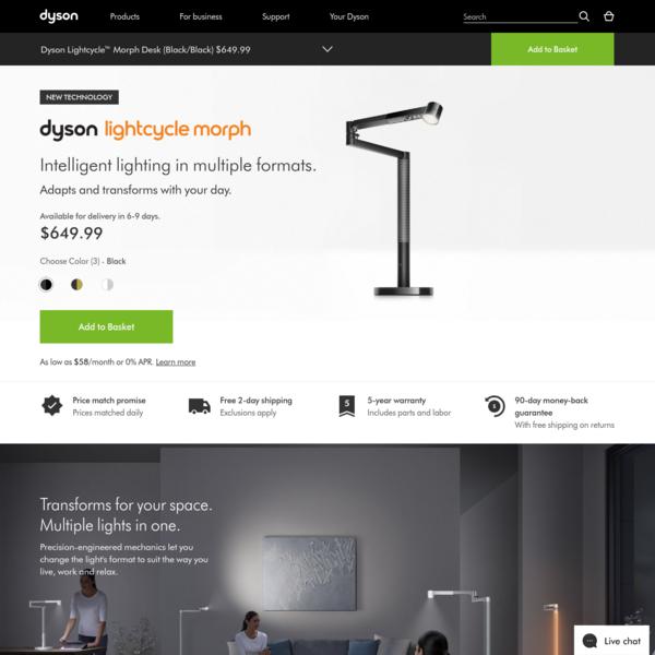 Dyson | Dyson Lightcycle Morph™ desk and floor lights | Dyson