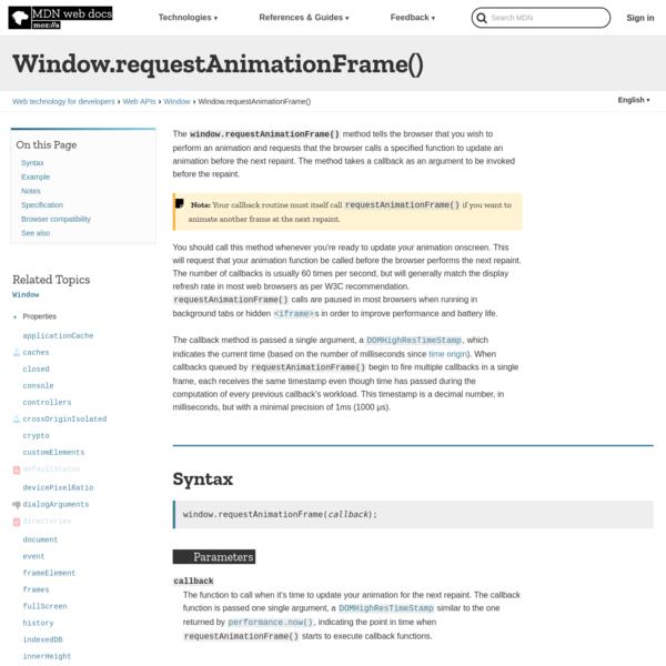 Window.requestAnimationFrame()
