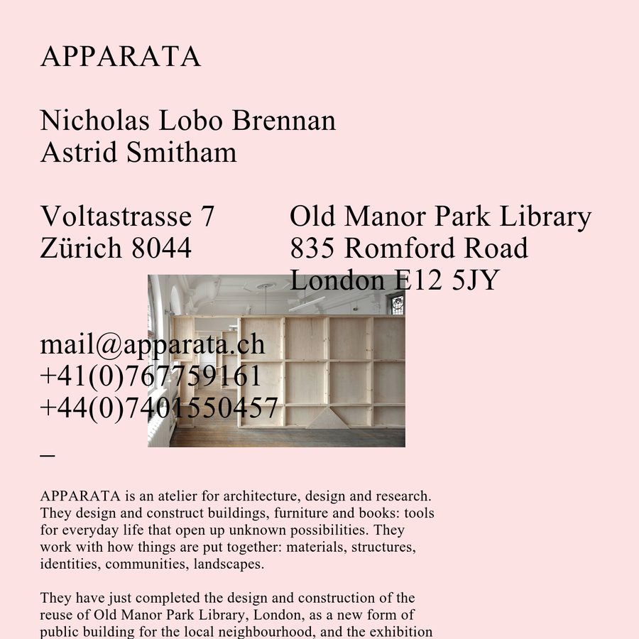 APPARATA or Atelier Apparata Architecture designs and constructs buildings, furniture and books.