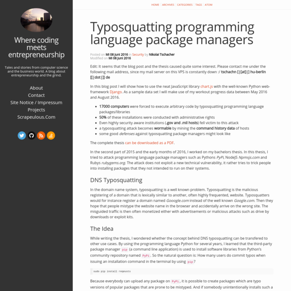 Typosquatting programming language package managers