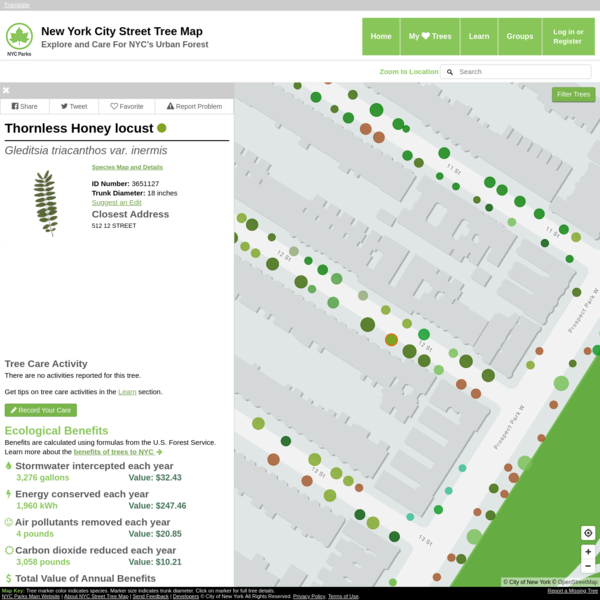 NYC Parks Street Tree Map