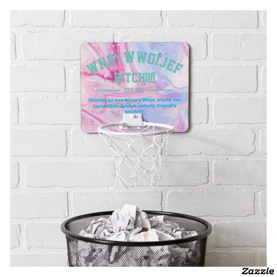 """wnb/wwoijef bitch!!!!"" Mini Basketball Hoop, Style: Mini Basketball Goal 7.4"" x 9"" x 1""; 6"" (plastic hoop)"