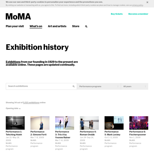 Exhibition history | MoMA