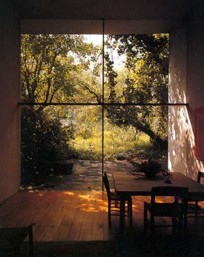 Architecture/garden, inside/outside, steel & glass wall