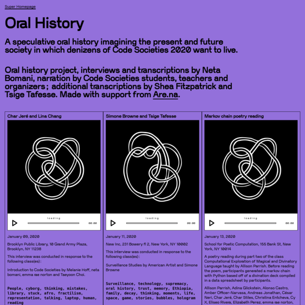 Oral History ~ Code Societies 2020