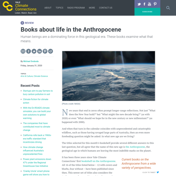 """Books about life in the Anthropocene """" Yale Climate Connections"""