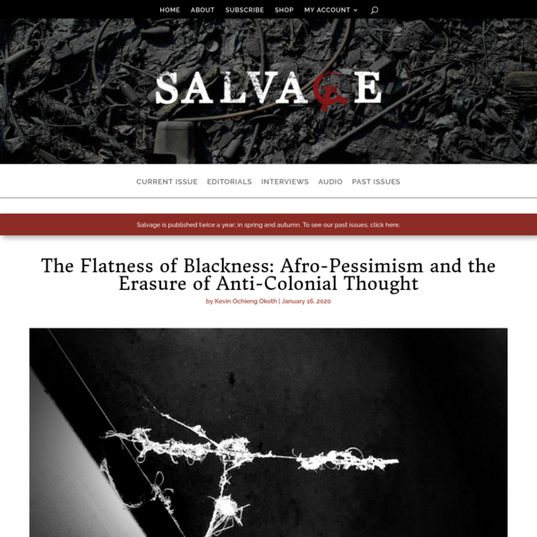 The Flatness of Blackness: Afro-Pessimism and the Erasure of Anti-Colonial Thought by Kevin Ochieng Okoth