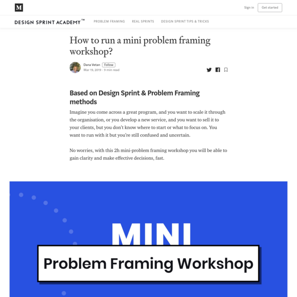 How to run a mini problem framing workshop to scope a project?