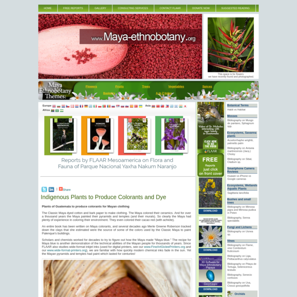 Indigenous Plants to Produce Colorants and Dye