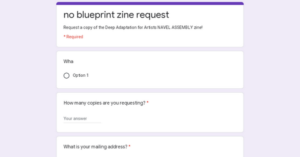 no blueprint zine request