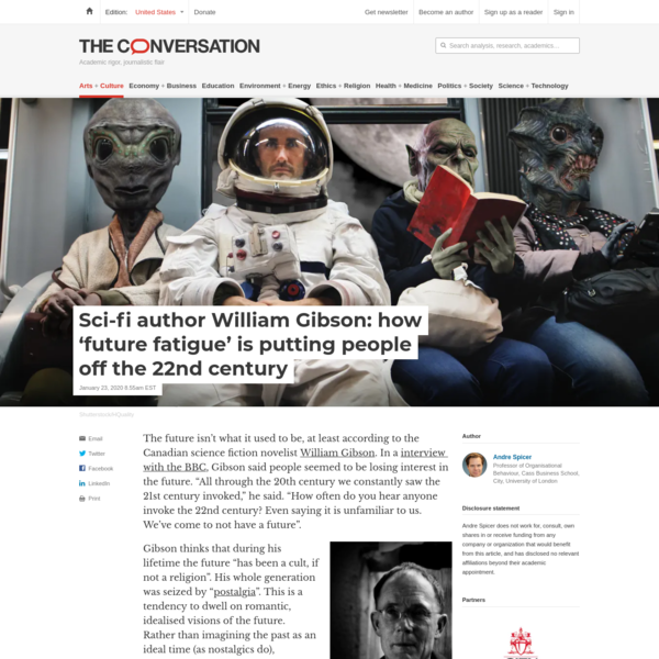 Sci-fi author William Gibson: how 'future fatigue' is putting people off the 22nd century