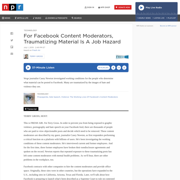 For Facebook Content Moderators, Traumatizing Material Is A Job Hazard