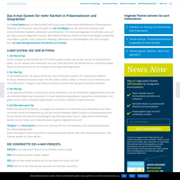 Das 4-mat-System für mehr Klarheit in Präsentationen und Gesprächen