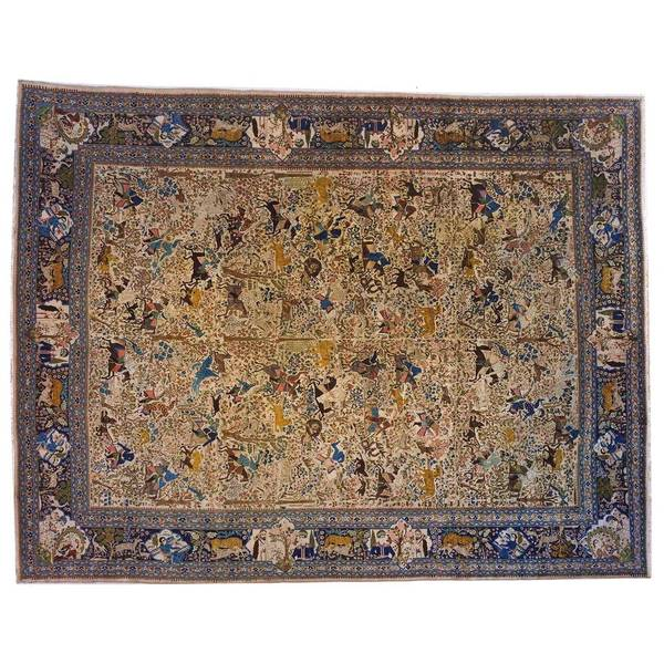 An antique Persian Tabriz hunting design carpet, circa 1900, size 18'0' x 13'9'. This unique hand-woven carpet features an intricate allover design with different hunting motifs, with a variety of people and animals featured amidst an astounding array of floral elements.