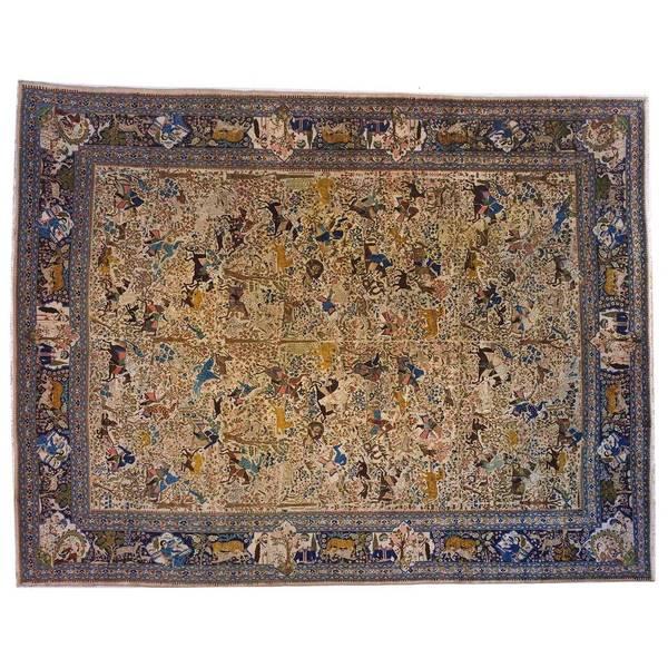 Antique Persian Tabriz Hunting Design Carpet | 1stdibs.com