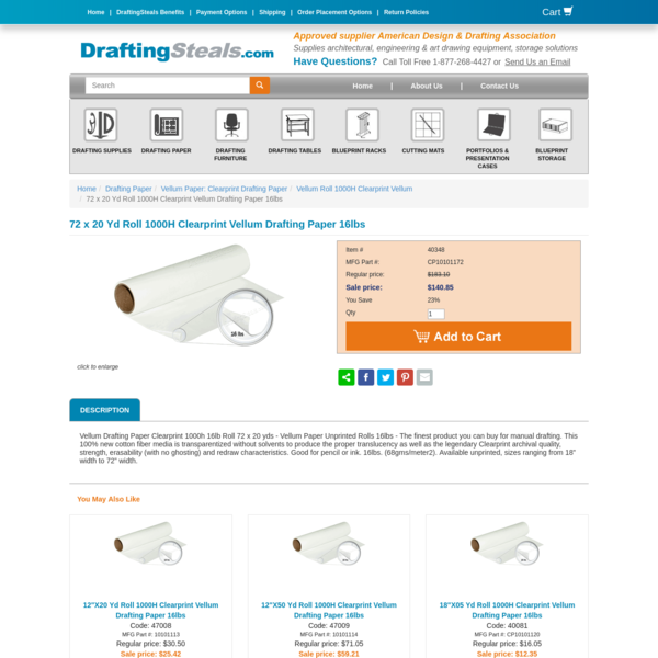 Vellum Paper Roll: Drafting & Tracing Clearprint Translucent Vellum