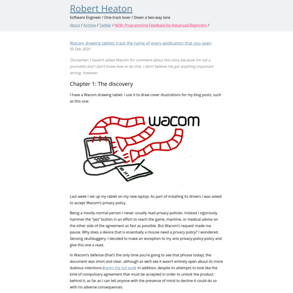 Wacom drawing tablets track the name of every application that you open   Robert Heaton