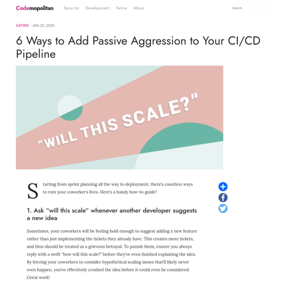 6 Ways to Add Passive Aggression to Your CI/CD Pipeline -