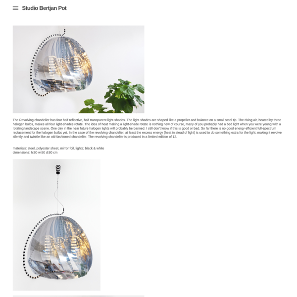 Studio Bertjan Pot › Revolving chandelier | 2009