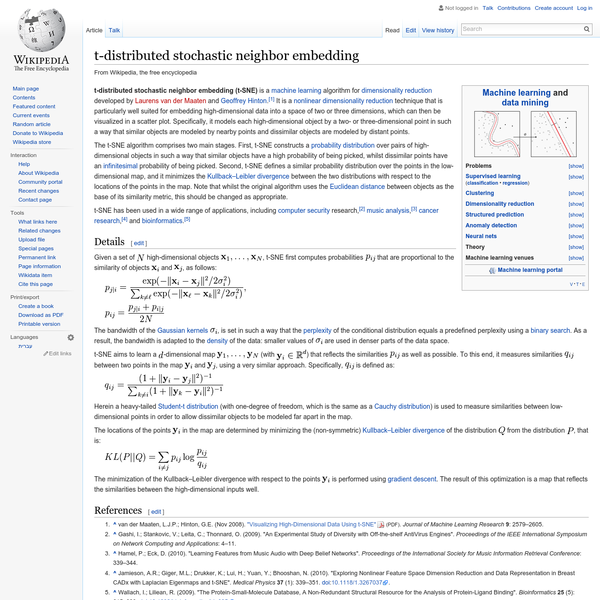 t-distributed stochastic neighbor embedding (t-SNE) is a machine learning algorithm for dimensionality reduction developed by Laurens van der Maaten and Geoffrey Hinton. It is a nonlinear dimensionality reduction technique that is particularly well suited for embedding high-dimensional data into a space of two or three dimensions, which can then be visualized in a scatter plot.