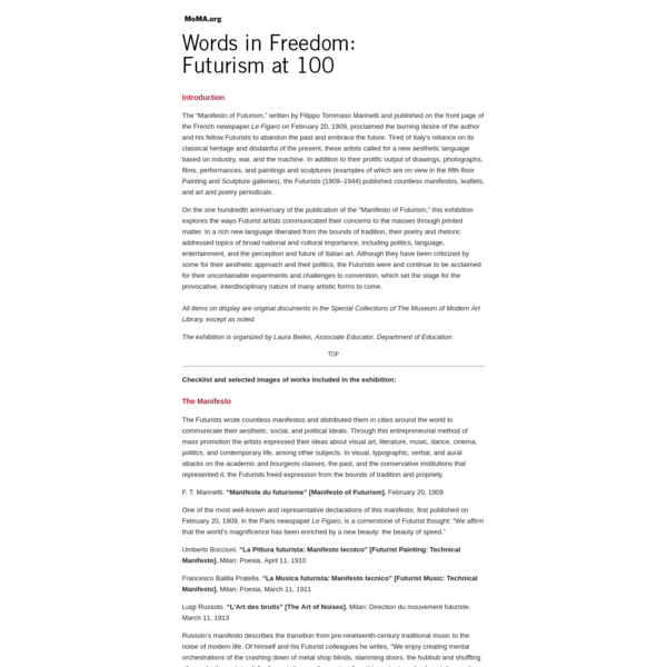 MoMA.org | Words in Freedom: Futurism at 100