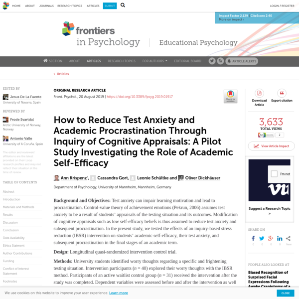 How to Reduce Test Anxiety and Academic Procrastination Through Inquiry of Cognitive Appraisals: A Pilot Study Investigating...