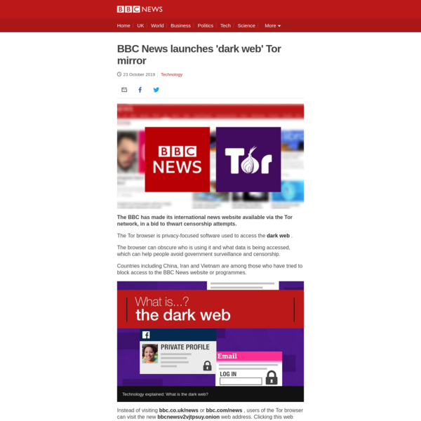 BBC News launches 'dark web' mirror