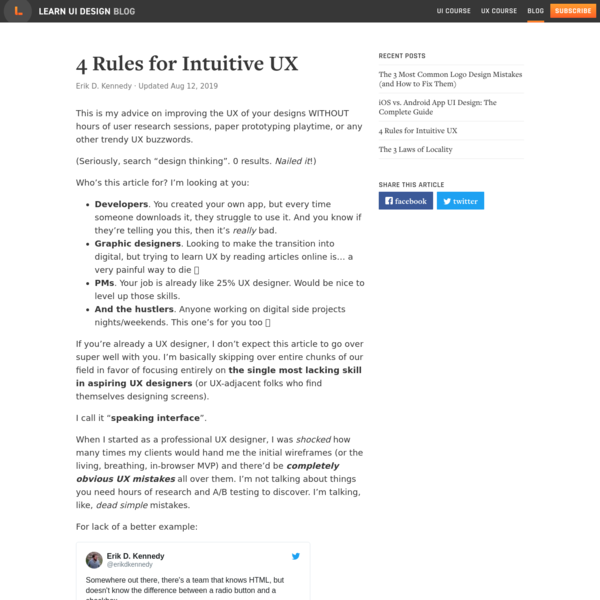 4 Rules for Intuitive UX