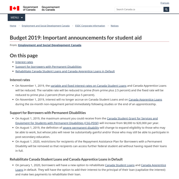 Budget 2019: Important Announcements for Student Aid - Canada.ca