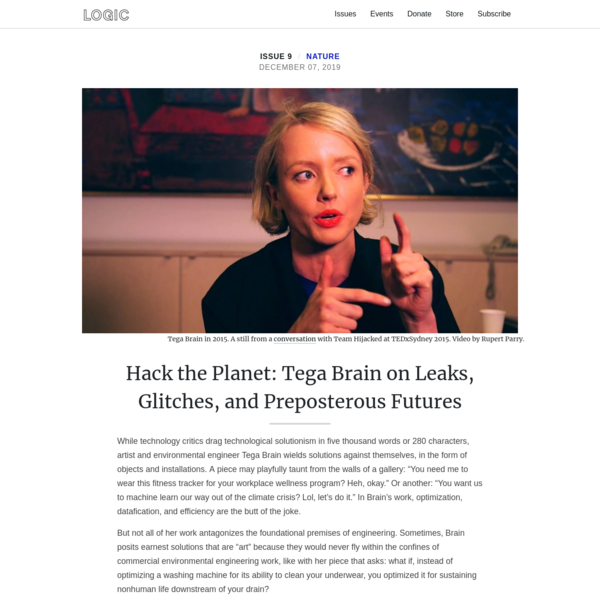 Hack the Planet: Tega Brain on Leaks, Glitches, and Preposterous Futures