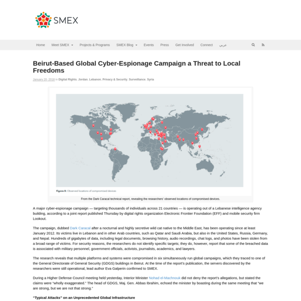 Beirut-Based Global Cyber-Espionage Campaign a Threat to Local Freedoms