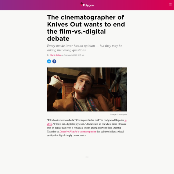 The cinematographer of Knives Out wants to end the film-vs.-digital debate
