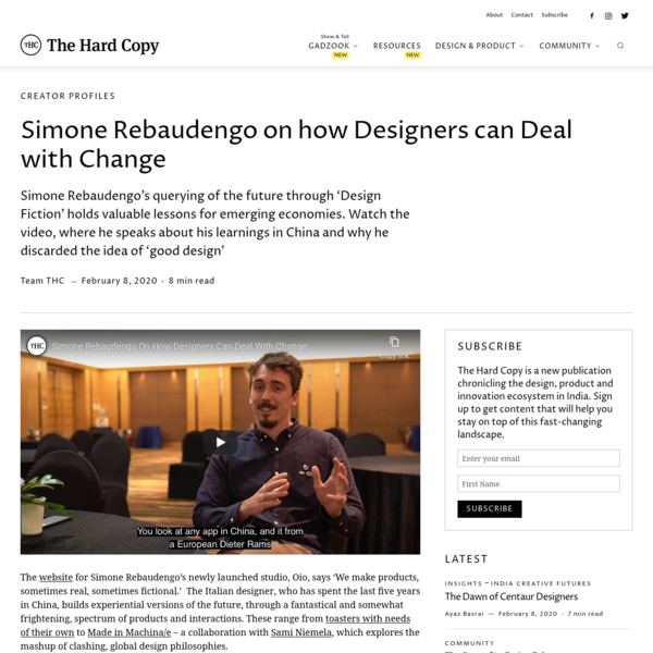 Simone Rebaudengo on how Designers can Deal with Change - The Hard Copy