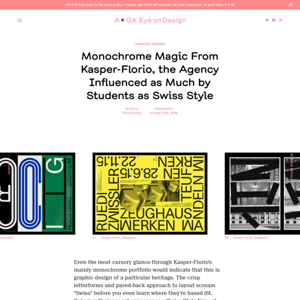 Monochrome Magic From Kasper-Florio, the Agency Influenced as Much by Students as Swiss Style