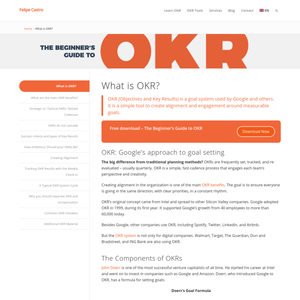 OKR: Learn Google's Goal System with Examples and Templates