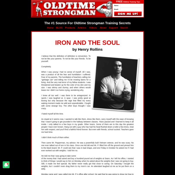 Iron and The Soul by Henry Rollins - www.oldtimestrongman.com