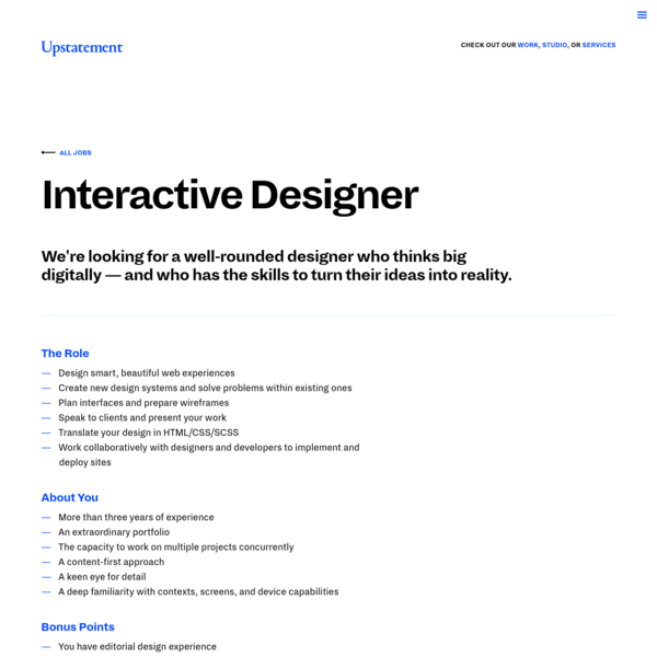 Interactive Designer | Upstatement