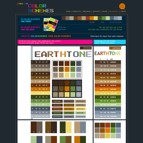 Earth tone color schemes, color combinations, color palettes for print (CMYK) and Web (RGB + HTML)