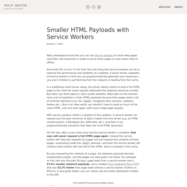 Smaller HTML Payloads with Service Workers