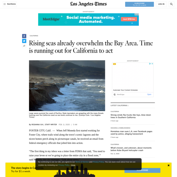 Rising seas already overwhelm the Bay Area. Time is running out for California to act