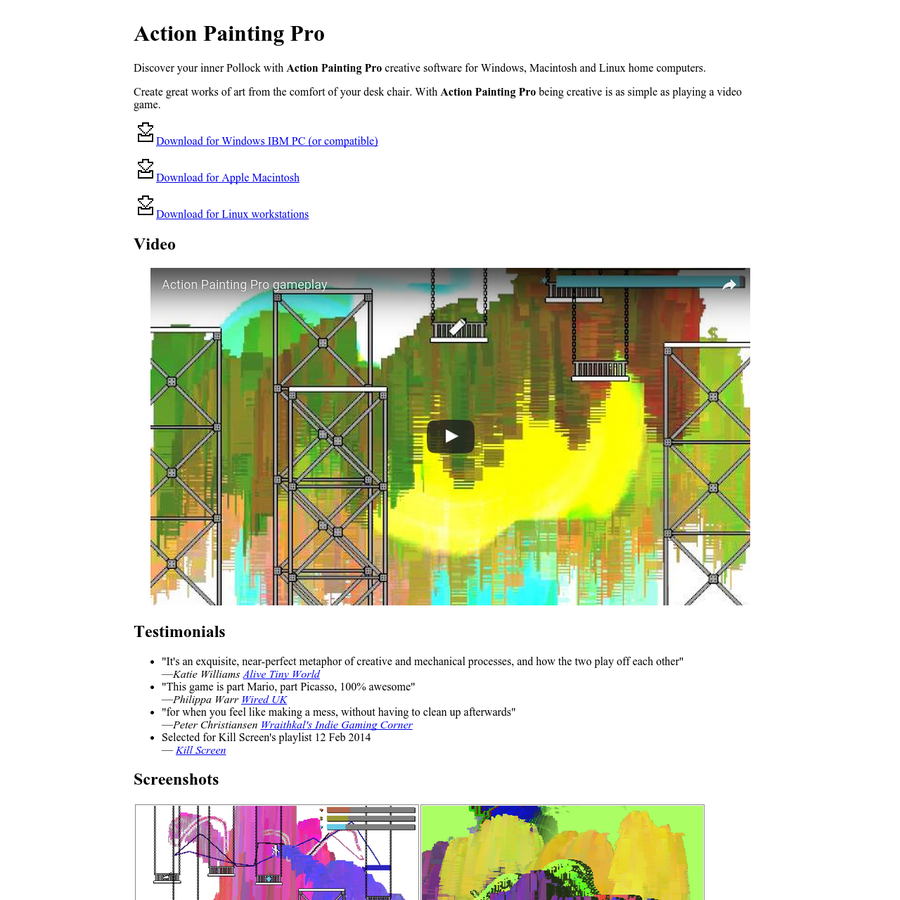 Discover your inner Pollock with Action Painting Pro creative software for Windows, Macintosh and Linux home computers.