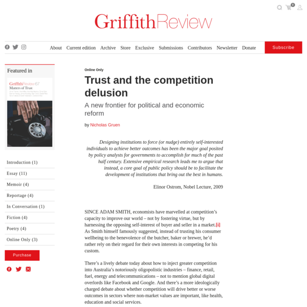 Trust and the competition delusion - Griffith Review
