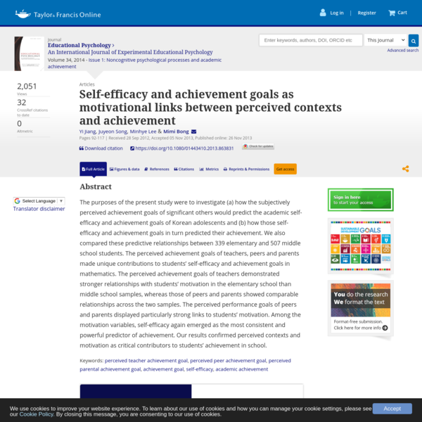 Self-efficacy and achievement goals as motivational links between perceived contexts and achievement