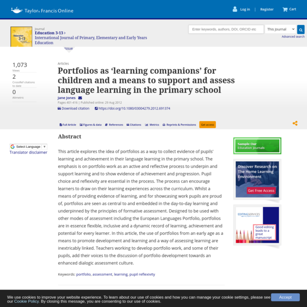 Portfolios as 'learning companions' for children and a means to support and assess language learning in the primary school